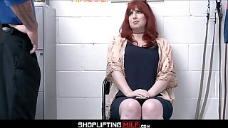 Thick Big Ass Redhead MILF Shoplifter Amber Dawn Sex With Guard For No Cops
