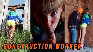 Fit girl caught by a Construction worker when she masturbate