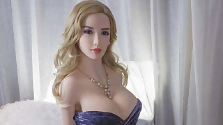 Hot blonde MILF sex doll with big tits ready for anal