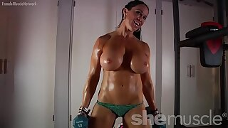 Naked Female Bodybuilder Loves Showing Off Her Huge Tits