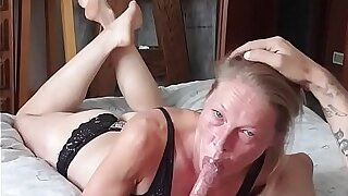 Milf deepthroat and swallow showing feet