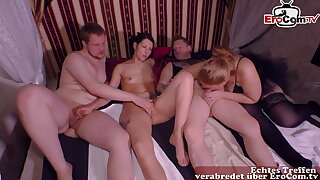 German amateur swinger club party with real private couple