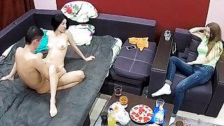 Maid watches boyfriend fucks another woman hard
