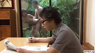Uncensored Japanese wife has raw sex outdoors with gardener