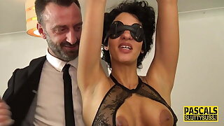 Tied up blindfolded busty milf submissive