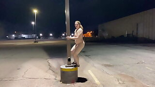 Camille Naked in a parking lot