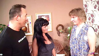 German Mature Couple Fuck in front of Maid and she joins in for a threesome