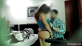 Midget maid with sexy body gets fuck at work