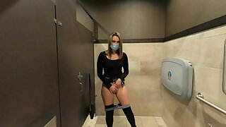 Wife flashes and gets caught masturbating in public bathroom